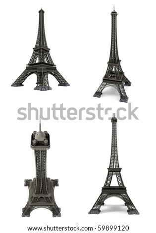 Eiffel tower isolated on white. Computer graphics
