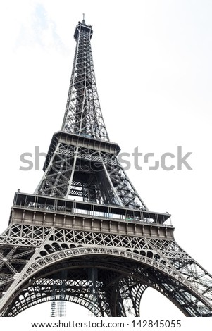 Eiffel tower isolated over the white background - stock photo