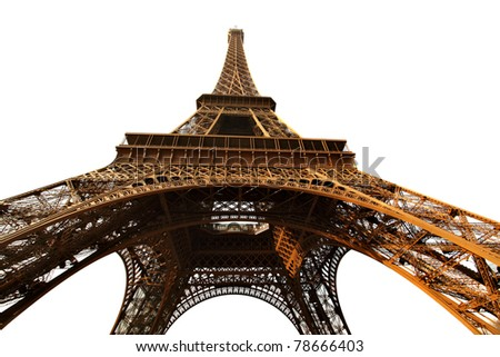 Eiffel tower isolated over the white background, Paris, France.