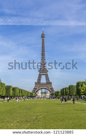 Eiffel Tower (La Tour Eiffel) located on Champ de Mars in Paris, named after engineer Gustave Eiffel. Eiffel Tower is tallest structure in Paris and most visited monument in the world. France.