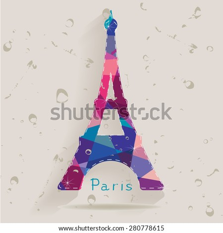 Eiffel tower made of triangles - stock photo