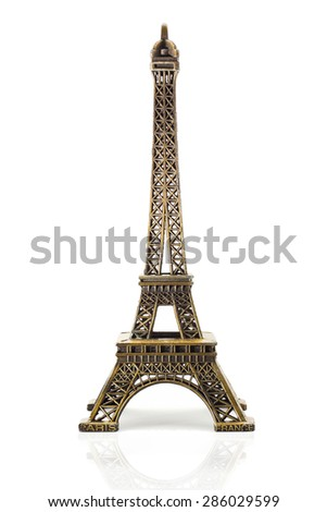 Eiffel tower model, Bronze isolated on white with reflex