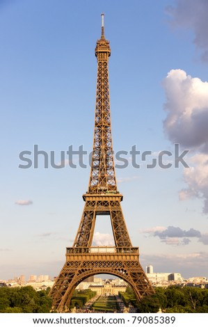 Eiffel tower near sunset - stock photo