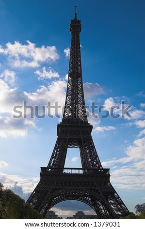 Eiffel tower of Paris. It was constructed by engineer Gustave Eiffel in 1889 and stands 300 m (986 ft) high. The tower is a symbol and main attraction of Paris.