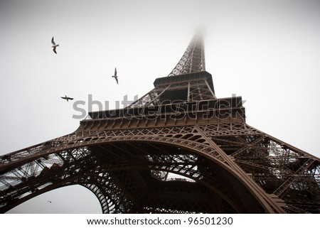 Eiffel Tower on a cloudy day