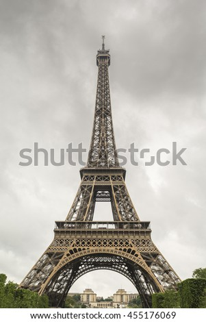 Eiffel tower on a cloudy day. Paris, France
