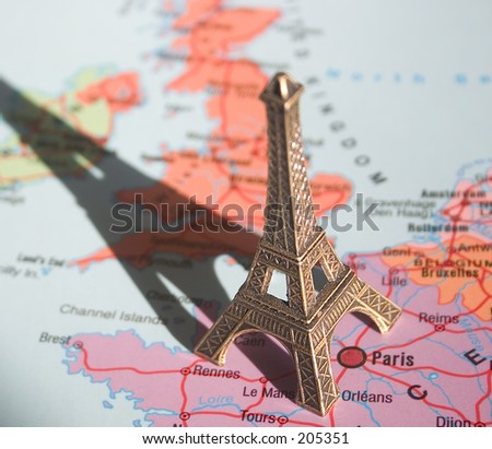 Eiffel Tower on a map