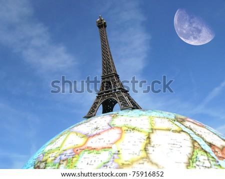 Eiffel tower on the globe - stock photo