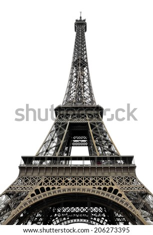 Eiffel Tower on white background