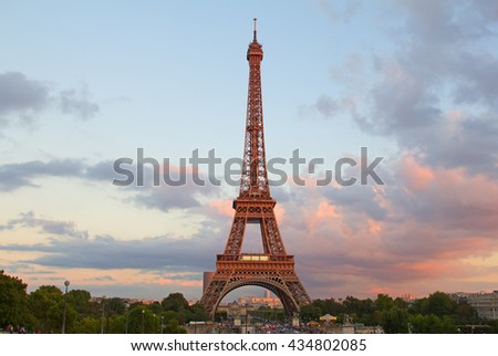 Eiffel tower - one of the main symbols of Paris - stock photo