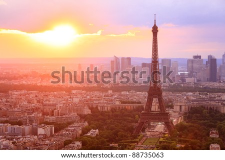 Eiffel Tower, Paris at sunset. Beautiful colors. - stock photo