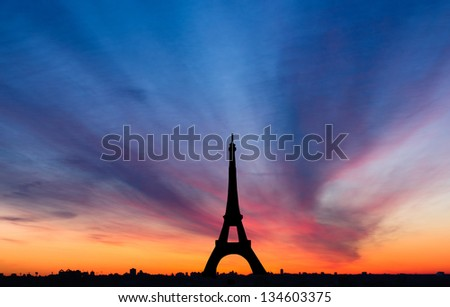 Eiffel Tower Paris France by sunset - stock photo