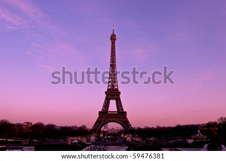 Eiffel Tower Paris France by sunset