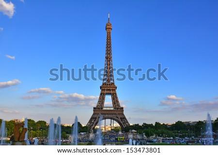 Eiffel tower, Paris France in summer - stock photo
