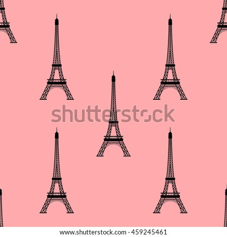 Eiffel tower, Paris, France. Seamless background. Eiffel tower monument icon repeating. Seamless pattern. Raster version. - stock photo