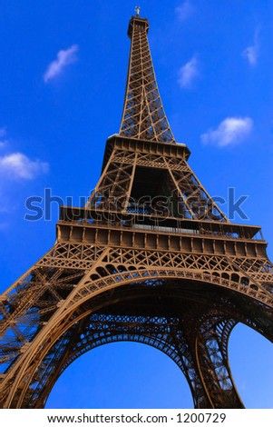 Eiffel tower - paris - on blue sky background - stock photo