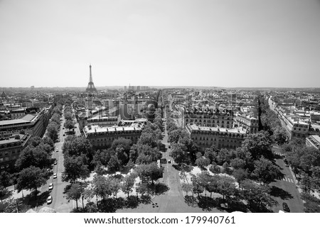 Eiffel Tower, Paris skyline, view from Triumphal Arch