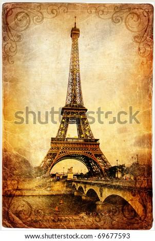 Eiffel tower - retro picture - stock photo