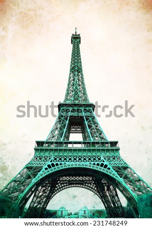 Eiffel Tower - retro postcard styled. - stock photo