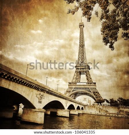 Eiffel tower river view monochrome vintage - stock photo