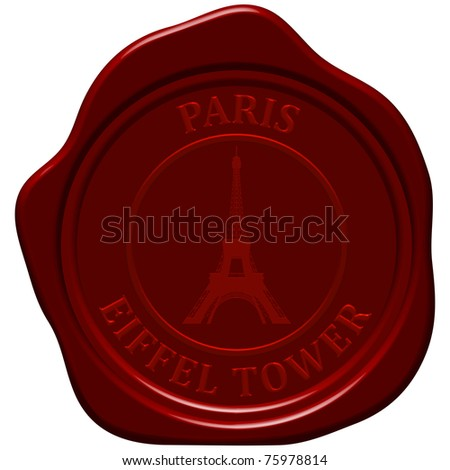 Eiffel tower. Sealing wax stamp for design use. - stock photo