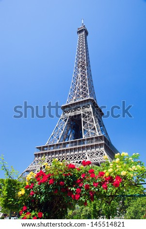 Eiffel Tower seen from Champ de Mars at a sunny summer day, Paris, France - stock photo