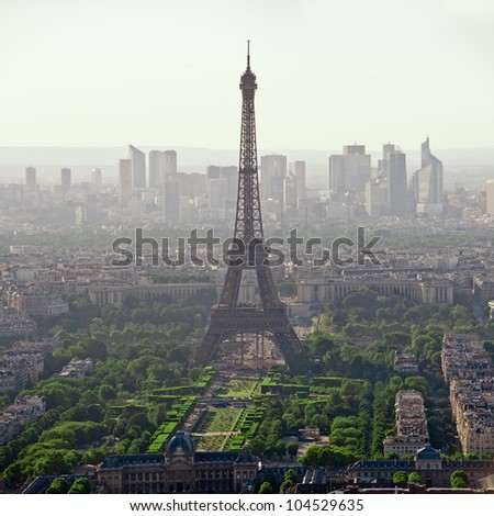 Eiffel tower seen from the top of montparnasse tower - Paris - France - stock photo
