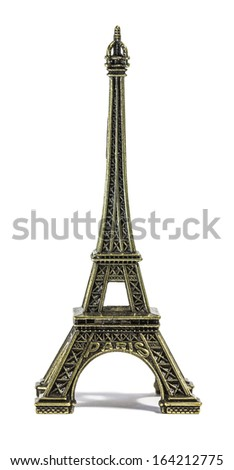 Eiffel tower souvenir, on white - stock photo