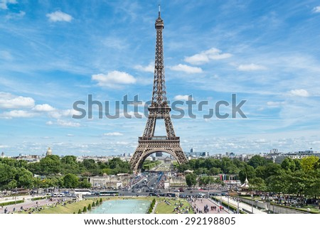 Eiffel Tower sunny day in Paris, France - stock photo