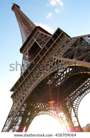 eiffel tower famous attraction paris france stock photo royalty