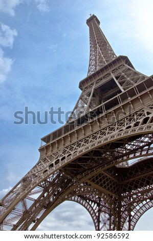 Eiffel Tower. The symbol of Paris and France against the backdrop of clear blue sky. vertical orientation