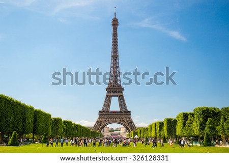 Eiffel Tower view from Champ de Mars in Paris, France - stock photo