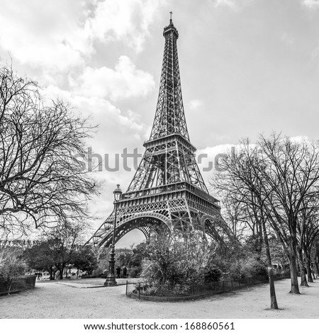 Eiffel tower, view from Champ de Mars in Paris, France (black and white) - stock photo