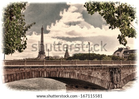 Eiffel Tower -view from Embankment of the River Seine.Paris - stock photo