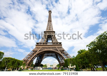 Eiffel Tower view from Mars Field Paris France - stock photo