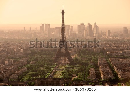 Eiffel tower view from montparnasse building in Paris - France