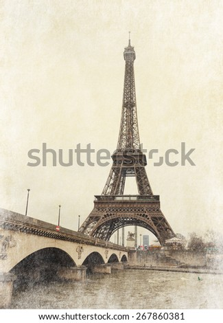 Eiffel tower view from Seine river, Paris, France. Photo in retro style.  Added paper texture - stock photo