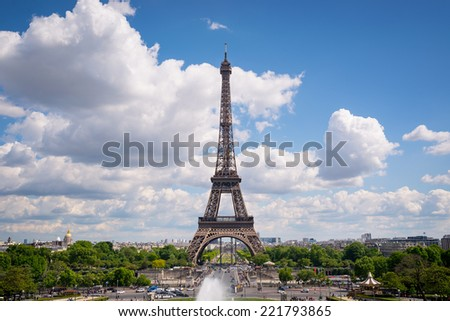 Eiffel Tower view from Trocadero. Paris, France.  - stock photo