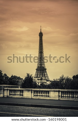 Eiffel tower view in Paris, France - stock photo