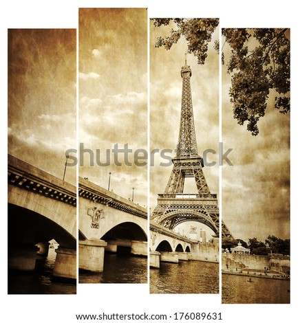 Eiffel tower vintage retro in stripes, from Seine river, Paris, France - stock photo