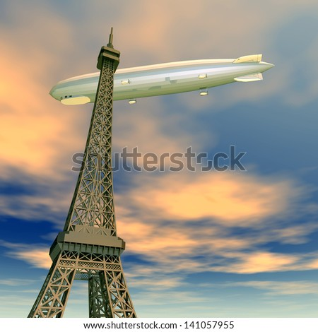 Eiffel Tower with Airship Computer generated 3D illustration - stock photo