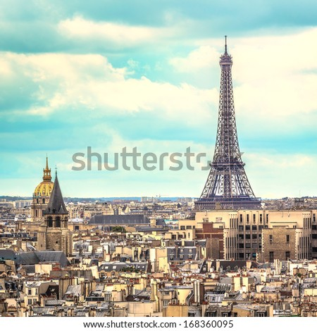 Eiffel Tower with blue sky as background ,Paris - France - stock photo