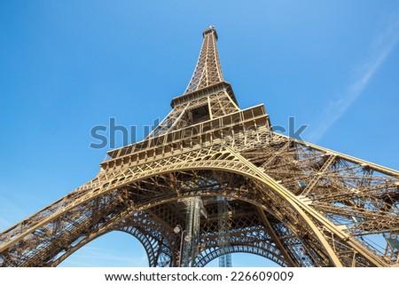 Eiffel Tower with blue sky, Paris France - stock photo