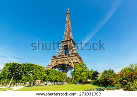 Eiffel Tower with blue sky, Paris France - stock photo
