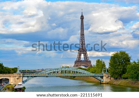 Eiffel Tower with bridge in Paris, France - stock photo