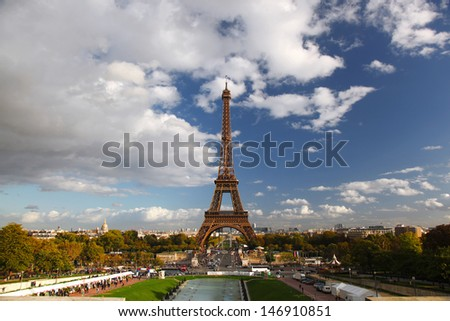Eiffel Tower with panorama of Paris in France - stock photo