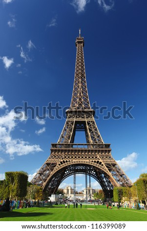 Eiffel Tower with park in Paris, France - stock photo