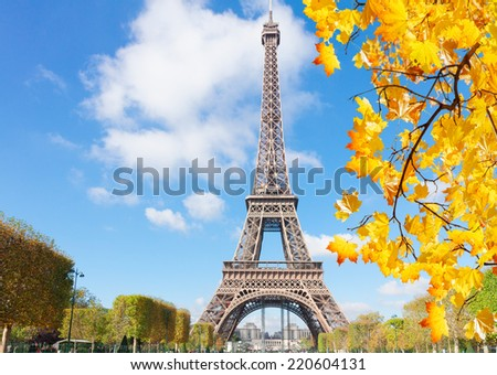 eiffelTower in sunny fall day in Paris,  France - stock photo