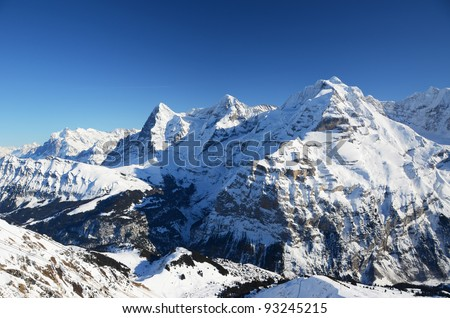 Eiger, Mönch and Jungfrau: three famous Swiss mountain peaks
