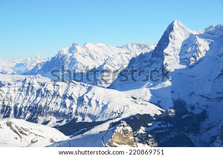 Eiger, Moench and Jungfrau, famous Swiss mountain peaks